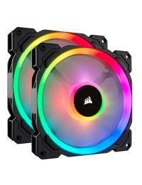 Ventilador CORSAIR LL140 RGB LED Doble Halo de Luz, Paquete de 2 con Lighting Node PRO, 140mm CO-9050074-WW
